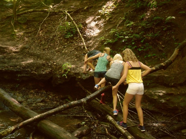 climbing to waterfall