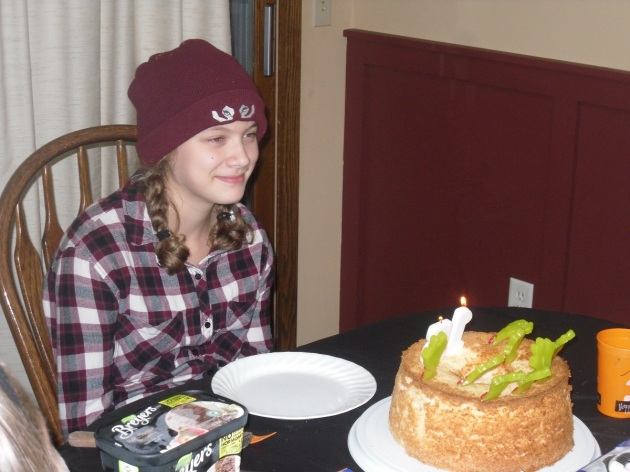 Lydia with cake
